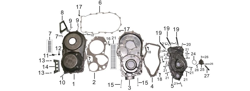 E-4 L & R Crankshaft Cover